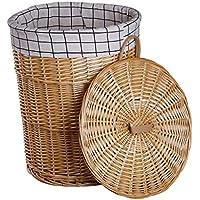 ラウンドラタンランドリーバスケットコットンバーリップライニング汚れたハンパー服雑貨保存バスケット (サイズ さいず : 37 * 42cm)