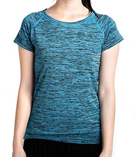 TouchVIP ヨガウェア スポーツウェア ヨガ 半袖 Tシャツ ジム ランニング 速乾 伸縮 吸汗 (ブルー L)