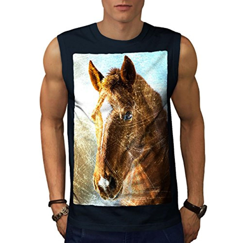 Wellcoda 自然 動物 うま 面 男性用 S-5XL 袖なしTシャツ
