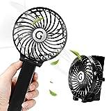 usb扇風機 卓上ミニファン 携帯扇風機 電池/usb給電 3段階風量調節 (ブラック)