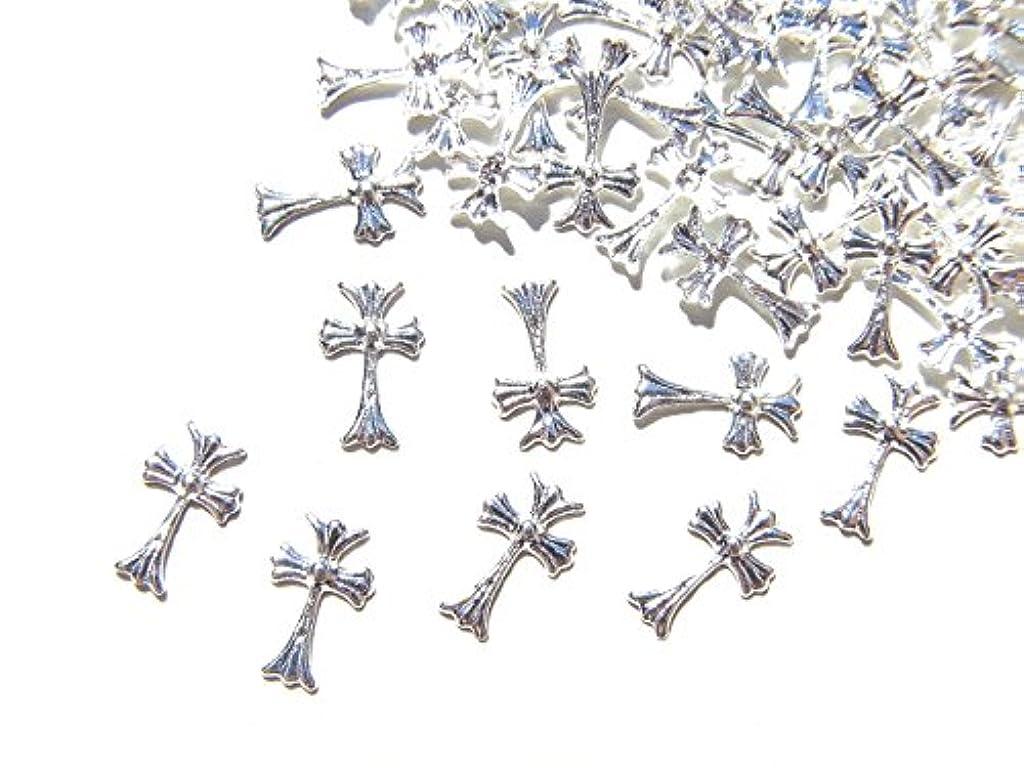 【jewel】シルバー メタルパーツ クロス (十字架) 10個入り 6mm×3.5mm 手芸 材料 レジン ネイルアート パーツ 素材
