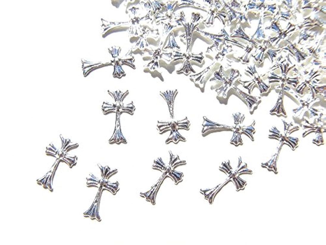 にやにやコモランマ検出可能【jewel】シルバー メタルパーツ クロス (十字架) 10個入り 6mm×3.5mm 手芸 材料 レジン ネイルアート パーツ 素材