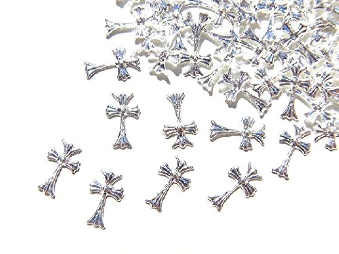 窓を洗うお気に入りサイズ【jewel】シルバー メタルパーツ クロス (十字架) 10個入り 6mm×3.5mm 手芸 材料 レジン ネイルアート パーツ 素材