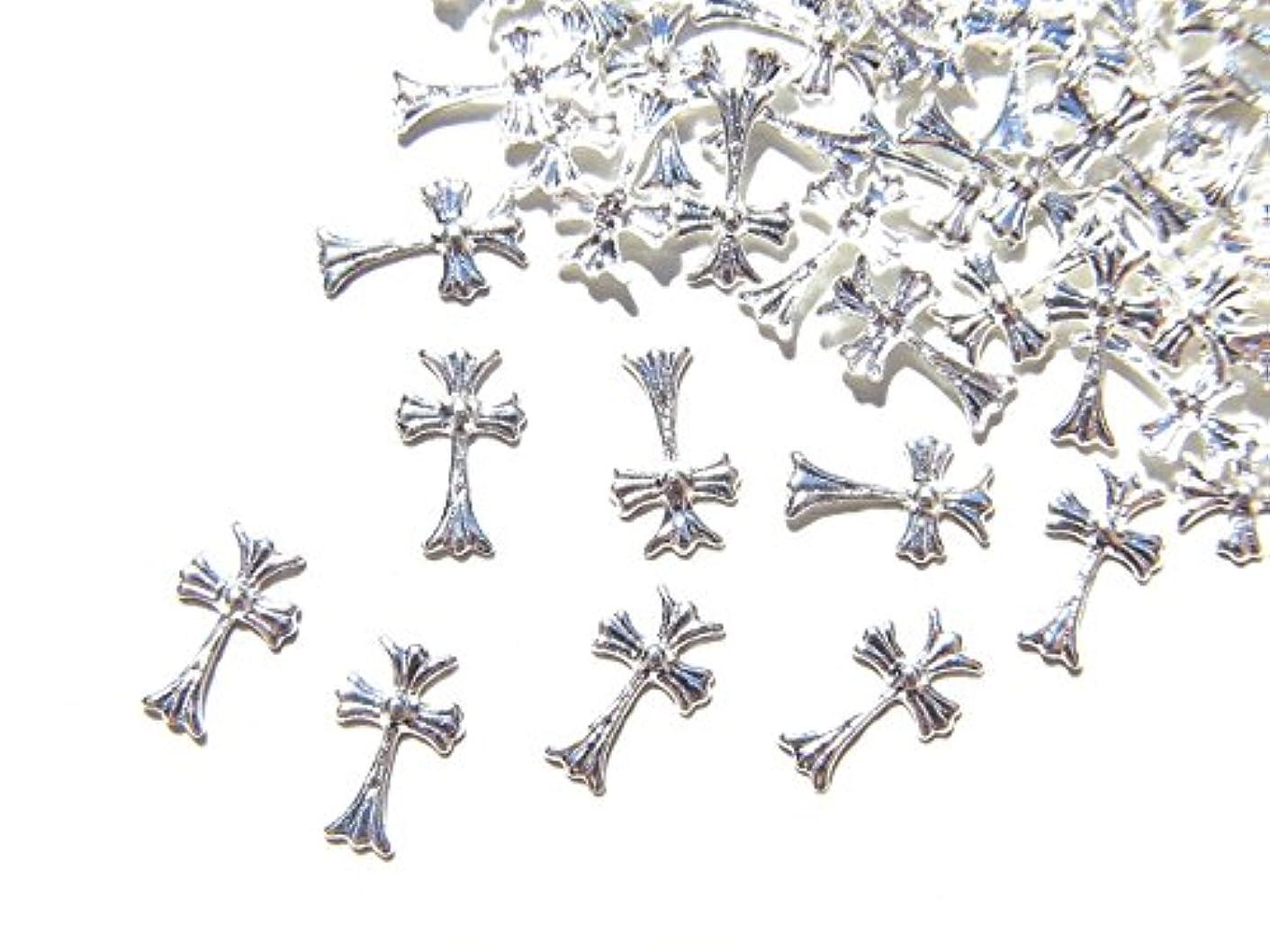 リスナー豊富豊富【jewel】シルバー メタルパーツ クロス (十字架) 10個入り 6mm×3.5mm 手芸 材料 レジン ネイルアート パーツ 素材