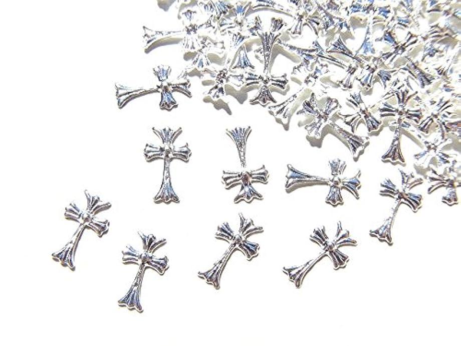 ストロースパーク調和のとれた【jewel】シルバー メタルパーツ クロス (十字架) 10個入り 6mm×3.5mm 手芸 材料 レジン ネイルアート パーツ 素材