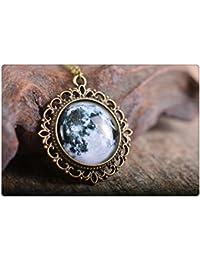 満月のペンダント、満月のネックレス、ムーンネックレス、ブロンズペンダント、ガラスペンダント、アンティークブロンズネックレス、ガラスドームのネックレス
