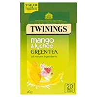 Twinings Mango and Lychee Green Tea Bags 40 g 20 Tea Bags (packs of 4 total 80 teabags)