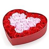 【芳るギフト】フラワーソープ ローズソープ バラ 花束 ボックス ギフト プレゼント (赤xピンク)