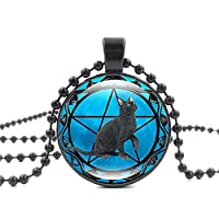 レトロな黒猫の時間宝石ガラスネックレス