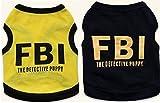 【犬服】 【ドッグウェア】 【S~L】 夏 涼しい Tシャツ FBI 2カラー (L, イエロー)