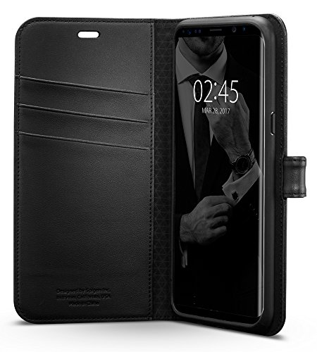 【Spigen】 Galaxy S8 ケース, ウォレットS [ レザー 手帳型 スタンド機能 ] ギャラクシー S8 カバー (Galaxy S8, ブラック)