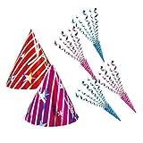 【パーティー用品】 2人用パーティーアイテムセット(三角帽2個&散らからないジュエルクラッカー4個)