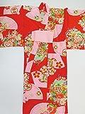 (ノーブランド品)4421 【中古】 子ども着物 女の子用 木綿 深赤地に扇面花模様 ランクA