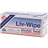 Liv-Wipe Mini Alcohol Swabs, 65 x 30mm, 70% Isopropyl Alcohol, 100 Packs per Box