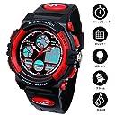 Hiwatch 子供 腕時計 防水 デジタル表示 アナデジ式 アラーム スポーツウォッチ (レッド)