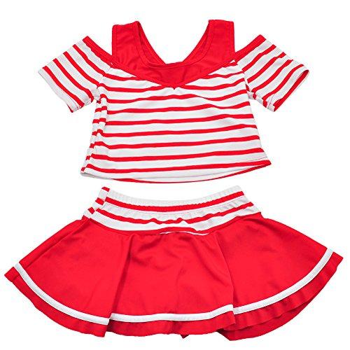 子供 女の子 女児 幼児 セパレート 2点セット ストライプ キッズ 140 (レッド, XXL(135-145))