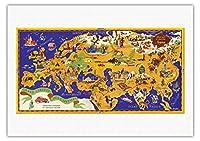世界地図 - ショコラムニエ - フランスのチョコレート会社 - キャピタルズのツアー - ビンテージな世界旅行のポスター によって作成された J.B. ジャノー c.1956 - 美しいポスターアート