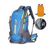 [HUAZHI]登山リュックザック 45L アウトドア サック バックパック スポーツバッグ 通気性 蒸れにくい 大容量 防水 軽量 多機能 旅行 男女兼用 防水カバー付属 豊富な収納ポケット 登山リュック ブルー