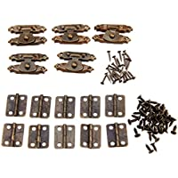 15個入りセット アンティーク調 ボックスバックル(5枚)&蝶番 ボックスのヒンジ(10枚) アンティークボックスラッチセット装飾 手芸 手作り パーツ 金具 ネジに付き
