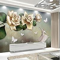 Xueshao 壁画3D壁紙現代手描き油絵花蝶白鳥リビングルームソファ背景装飾フレスコ画-280X200Cm