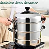 QZ Kitchen Stainless Steel Thick Steamer Pot Soup Universal Cooking Pots For Induction Cooker Gas Stove Steam Pot Multi-Funct
