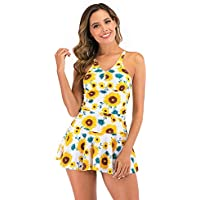 HYWJSZ Women's One Piece Swimsuit Floral Ruched Retro Swimdress Bathing Suit