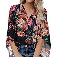 SZIVYSHI 3/4 Sleeve Kimono Sleeve Deep V Neck Button Front Floral Loose Fit T-Shirt Tee Blouse Shirt Top