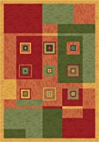 Milliken 4000032174 Pastiche Collection Bloques Area Rug Fiji 7'7 x 7'7 Round [並行輸入品]
