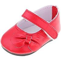 Lovoski 18インチ人形ドール用 アクセサリー ストラップ フラット PUレザー シューズ 靴 4色選ぶ - レッド