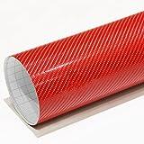 Amazon.co.jpIlMondoMall 次世代の立体感 4D カーボンシート カーボンステッカー レッド 赤 汎用 品質確認サイズ 10×10cm