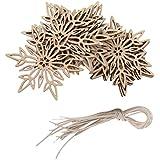 【ノーブランド品】クリスマス ツリー 装飾 飾り ぶら下げ 小物 飾りつけ ギフト DIY パーティー 木製 雪の結晶型