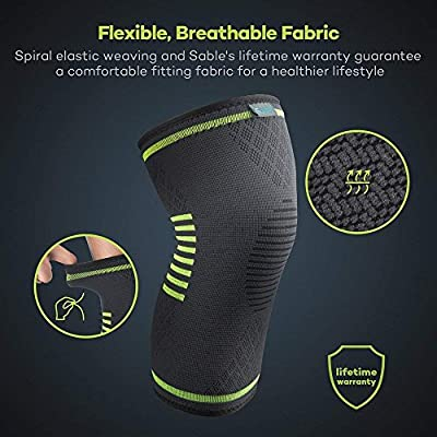 Sable Knee Brace Support Compression Sleeves, 1 Pair FDA Registered Wraps Pads for Arthritis, ACL, Running, Pain Relief, Injury Recovery, Basketball and More Sports