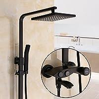 シャワー壁マウントシステムスクエアトップ真鍮スプレーBath部屋でシャワー固定調節可能な雨シャワーヘッド – ブラック、