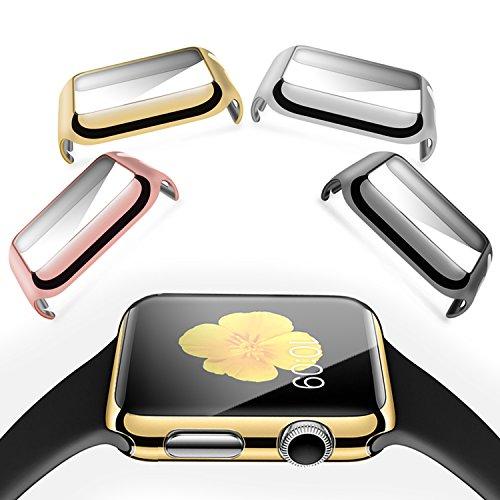 XGUO 38mm対応 Apple Watch専用保護カバー 高透明性 PCメッキ加工 極薄防水 脱着簡単 4枚セット