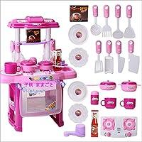 augroo 子供 ままごと 玩具 キッチン 食べ物 果物 食器 カトラリー キッチンセット 13点セット 音楽 ライト付き (ピンク)