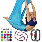Dasking Deluxe 5m/Set Yoga Swing Aerial Yoga Hammock kit with Daisy Chains Carabiners, Fabric & Guide