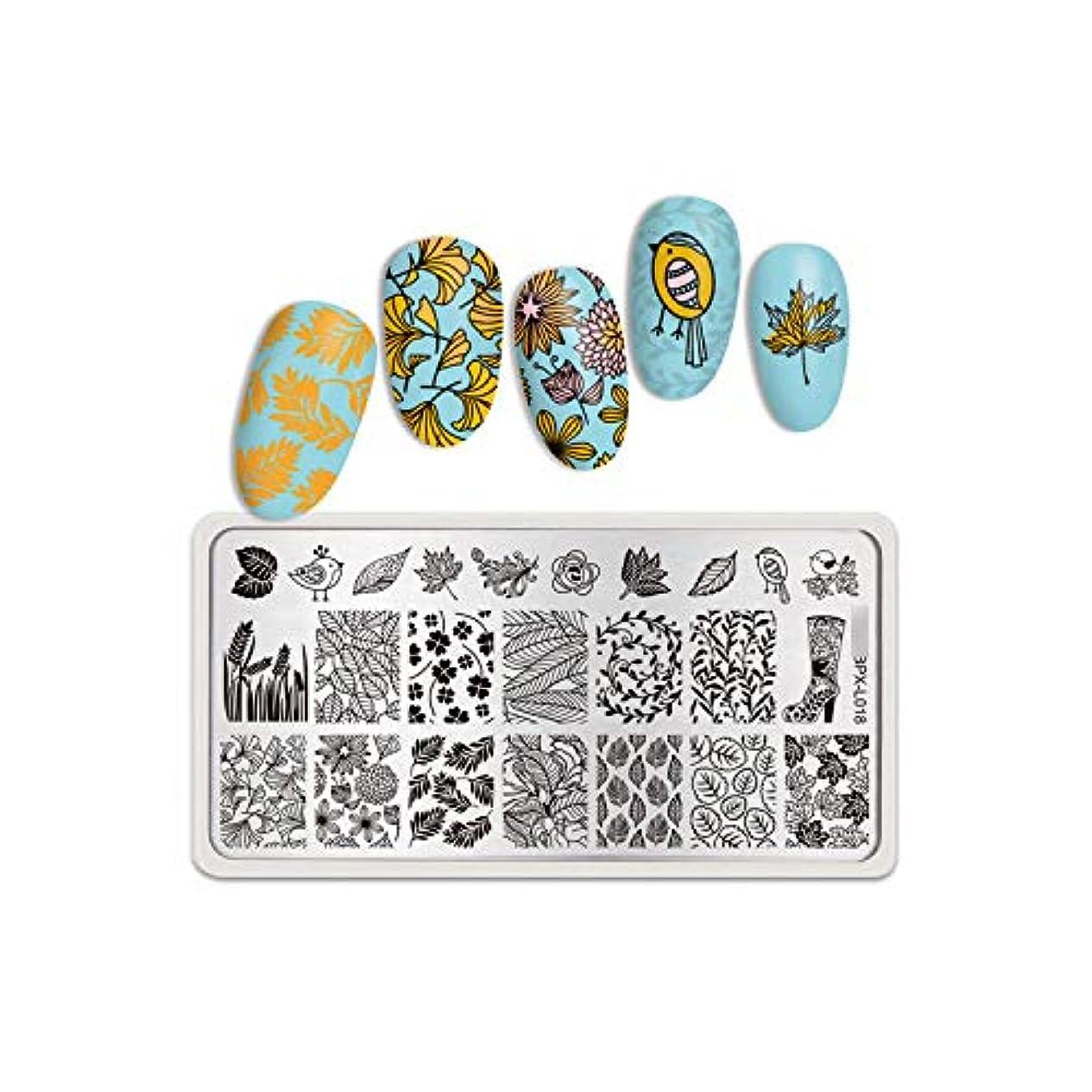 畝間合わせてちらつき生まれたかわいい長方形ネイルスタンピングプレート花蝶混合パターンネイルアート画像デザインツールピュアワールドL001,BPX-L018
