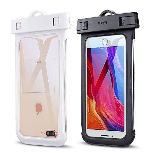防水ケースESR 2枚セット、ESR IPX8(防水規格) 防水カバー 入れたままタッチ操作 指紋認証(iPhone 7以降の機種でロック解除可) 対応機種: iPhone X/ 8/8 plus 7/7plus/6s/6/6plus, Samsung, Sony, Huaweiその他6インチまでのスマートフォン