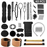40 Pcs Hair Styling Accessories Kit Set Bun Maker Hair Braid Tool for Making DIY Hair Styles Black Magic Hair Twist Styling A