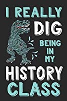 I Really Dig Being In My History Class: Dinosaur Composition Lined Notebook Wide Ruled