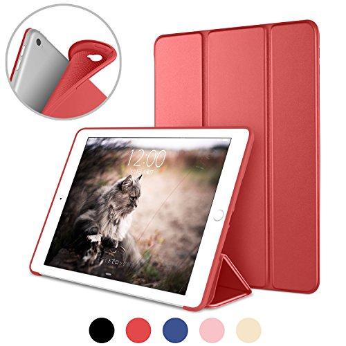 DTTO iPad Air2 ケース 超薄型 超軽量 生涯保証 TPU ソフト スマートカバー 三つ折り スタンド スマートキーボード対応 キズ防止 指紋防止 [オート スリープ/スリー プ解除] アップルレッド