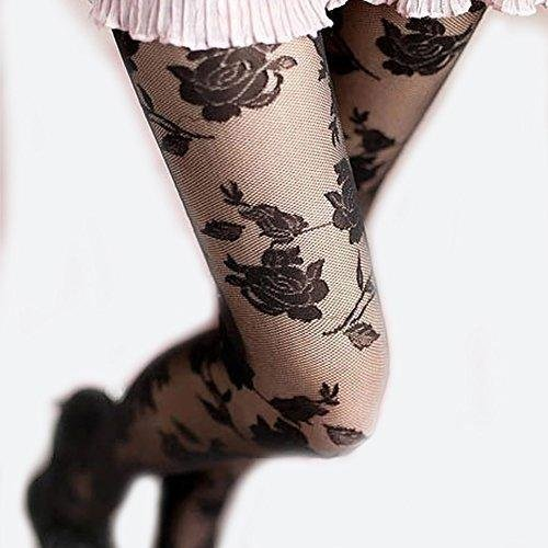 ロリータテイスト レトロ ロース 薔薇 の 花柄 ストッキン...