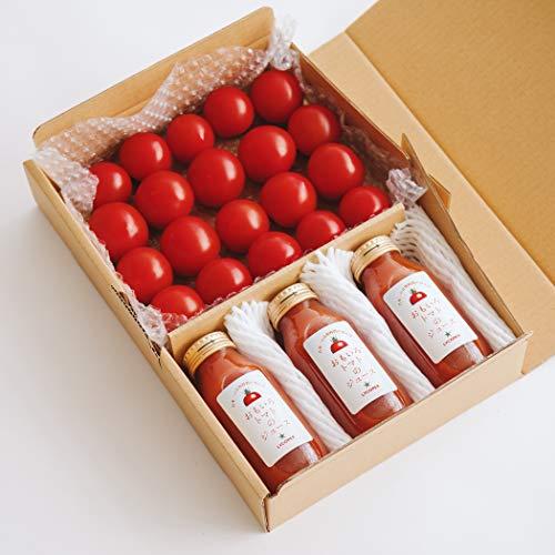お試しセット「おもいろトマト(約600〜700g)」と「おもいろトマトジュース(180ml)」 お歳暮 ギフト 贈り物 贈答品 誕生日プレゼント 業務用に