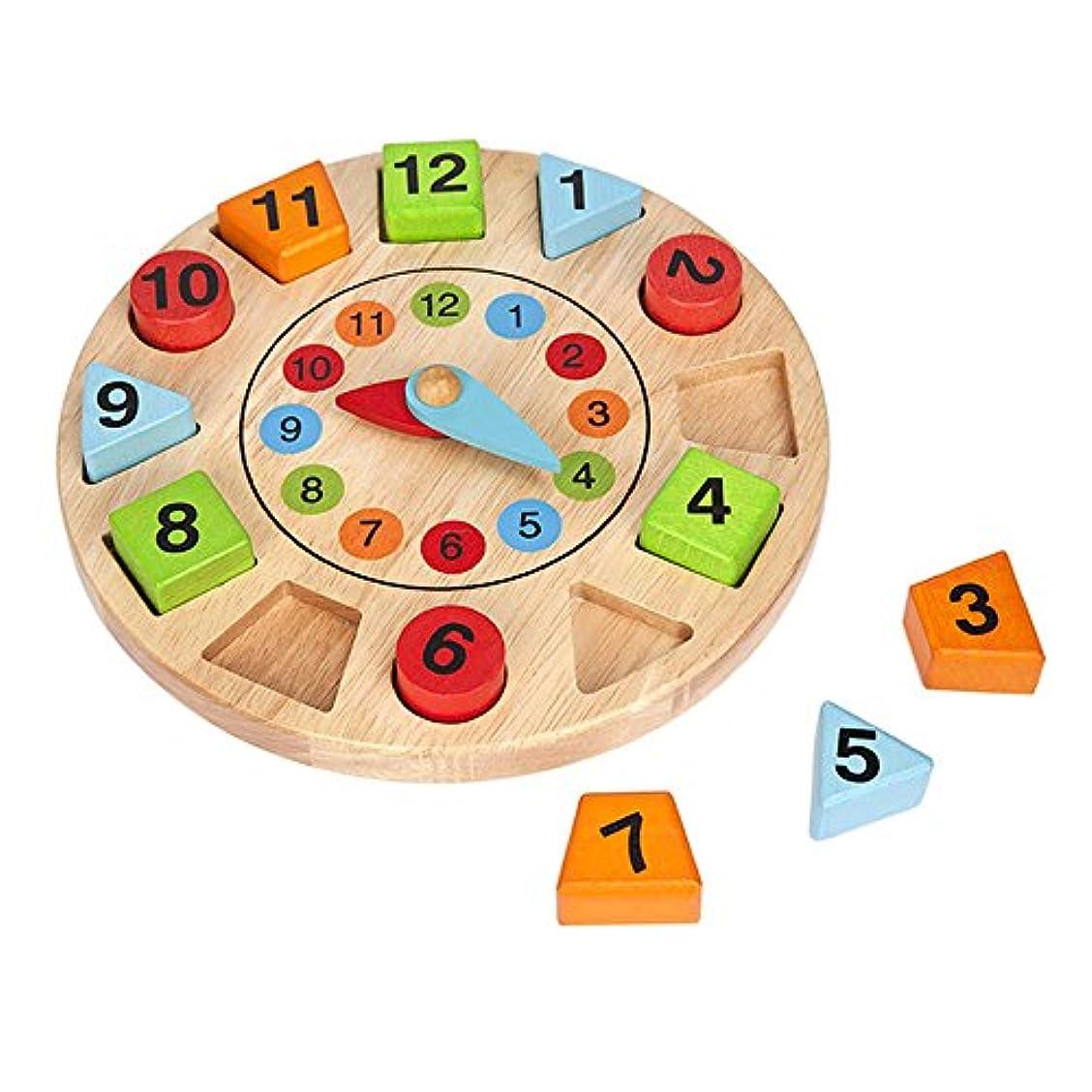 地理洗剤労働Smatter木製Shape Sorting Clockの学習パズル教育玩具3 yeAT古い幼児用
