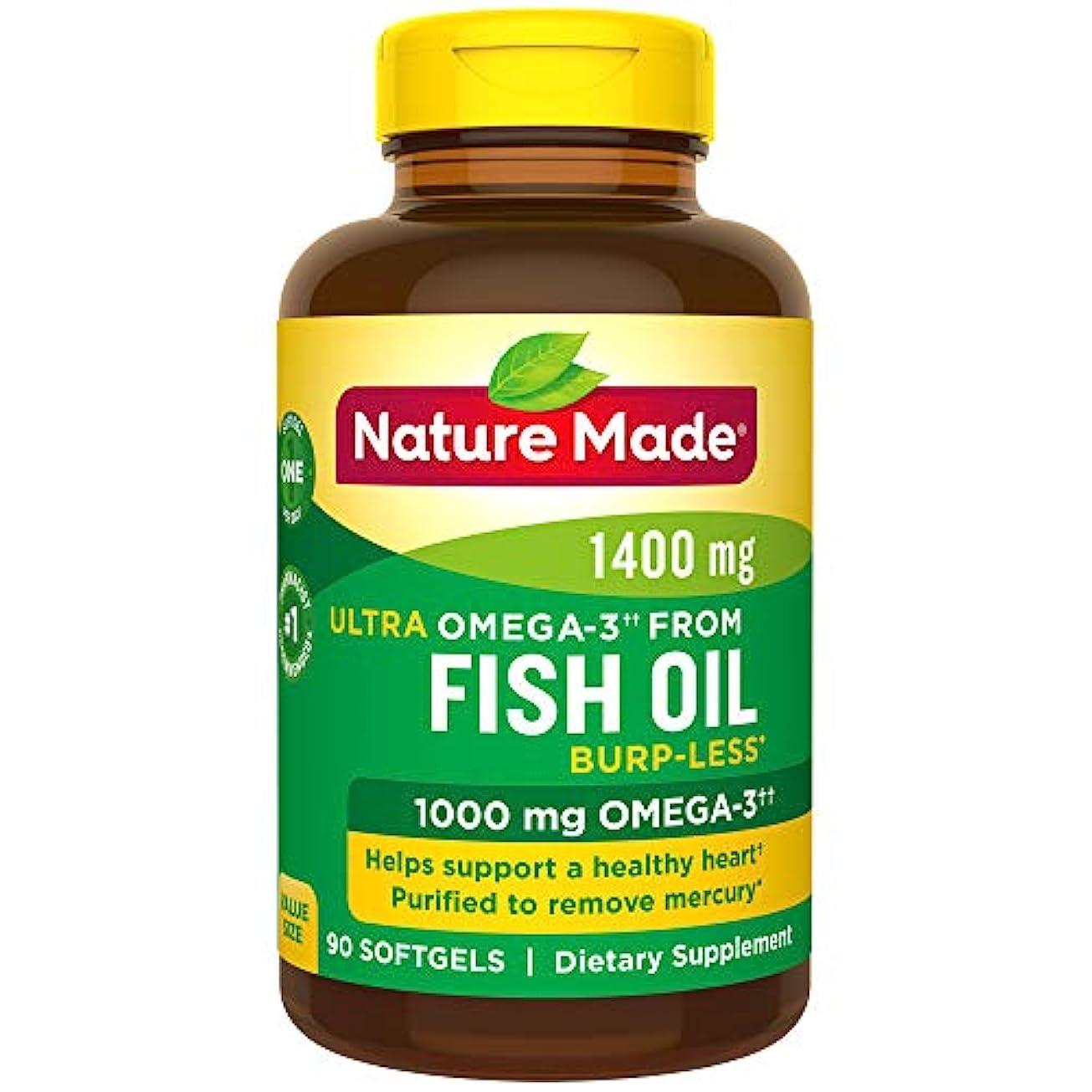 制裁入札棚Nature Made Ultra Omega-3 Fish Oil Value Size Softgel, 1400 mg, 90 Count 海外直送品