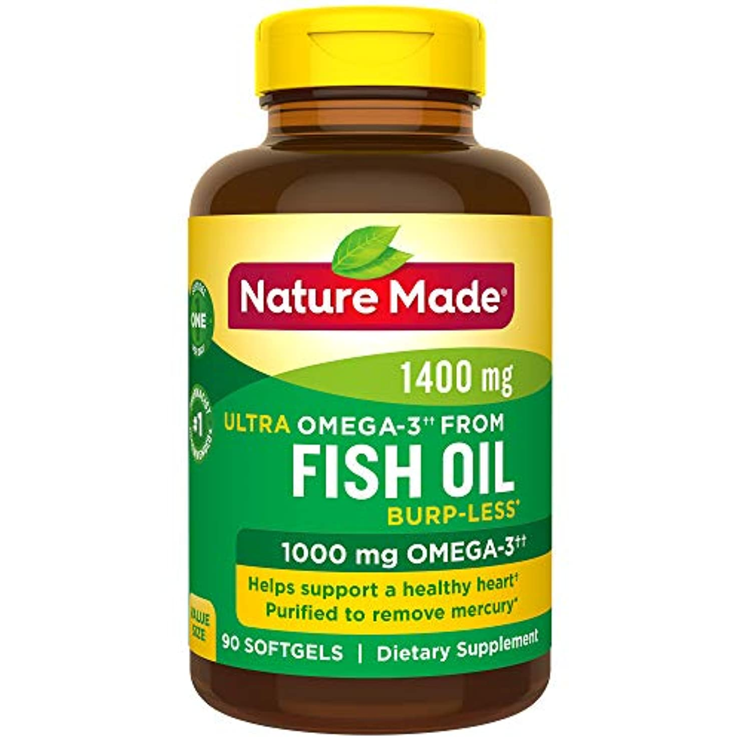 Nature Made Ultra Omega-3 Fish Oil Value Size Softgel, 1400 mg, 90 Count 海外直送品