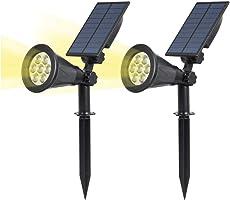 T-SUN 4LED 花园灯 太阳能灯 节能灯 室外充电式 自动亮灯 2件套 玄关地,草地,楼梯,庭院等对应 LED照明, 黄