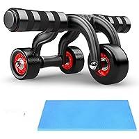 スピー堂 腹筋ローラー アブホイール エクササイズウィル スリムトレーナー3つのローラーが エクササイズローラーブレーキ 膝を保護するマット付き!
