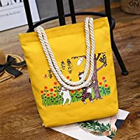 Student Tote Bag, Female Catching Insects Canvas Shoulder Bag Simple File Shopping Handbag (Yellow) Polykor