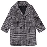 QRX Autumn and Winter Girls Mid-Length Houndstooth Wool Coat, Kid Size:120cm(Beige) (Color : Grey)